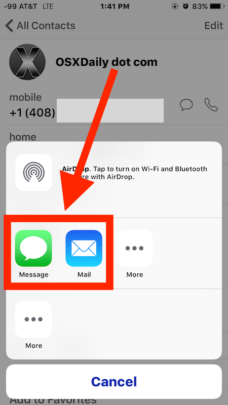 Send contact info from iPhone to another phone