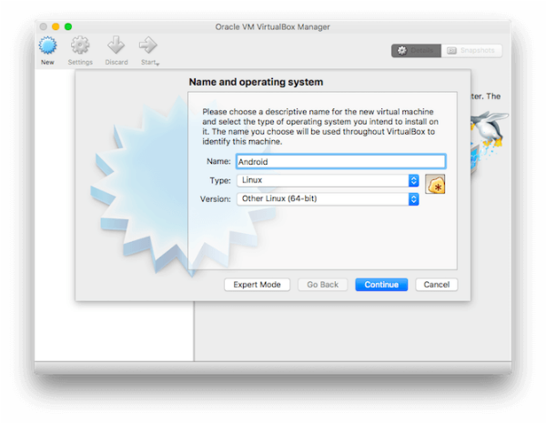 run android apps on mac: VirtualBox