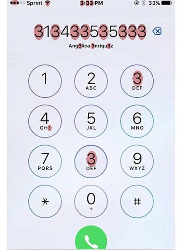 How many threes can you see? Apart from the eight threes in the phone number, there are two threes on the key pad as the number eight button has been replaced. At 3.33pm, the time also contains three number threes and the battery power at 33 per cent contains another two. Three of the letters in the contact