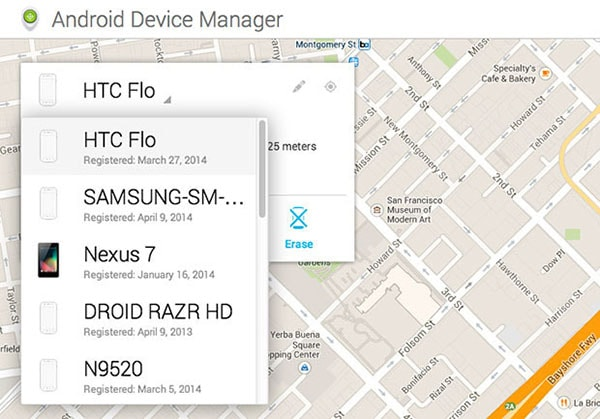 go to Android device manager