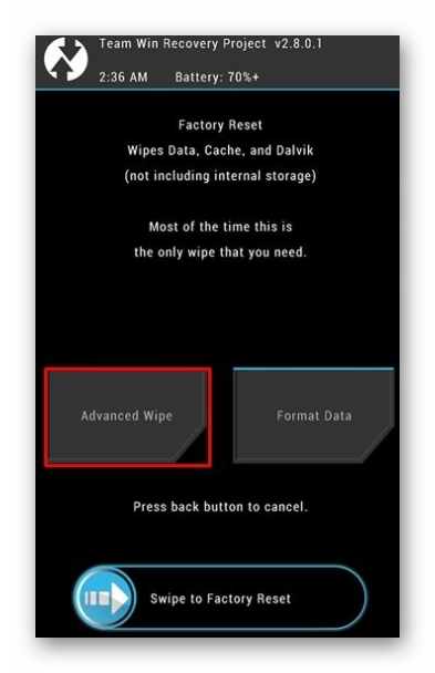 advanced wipe twrp android