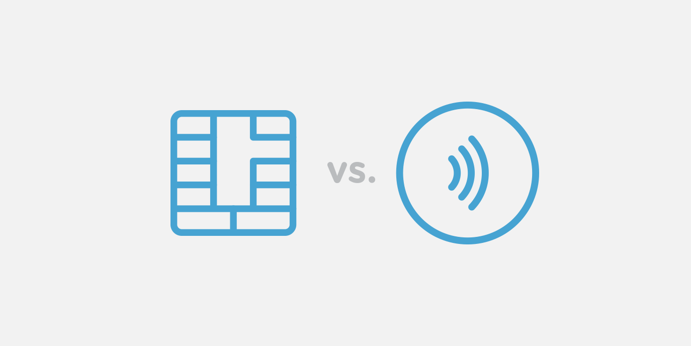 Diagram of a chip card icon versus a contactless icon