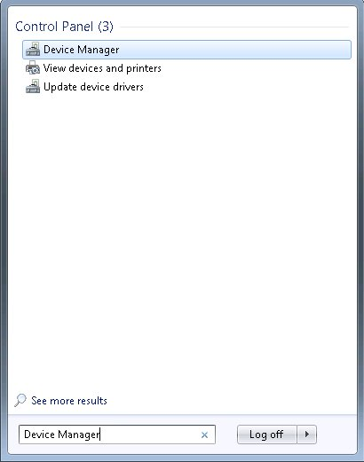 Start menu showing Device Manager text in search field and Device Manager icon in search results