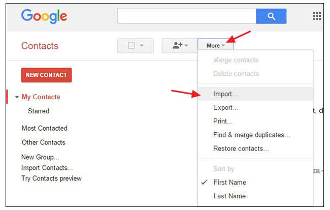 import gmail contacts from one to another