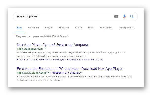 Nox App Player в Google